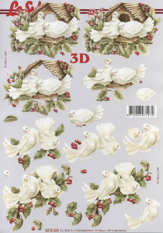 3D Bogen Tauben  - Format A4, Pflanzen - Ilex,  Tiere - Vögel,  Le Suh,  3D Bogen,  Tauben,  Ilex