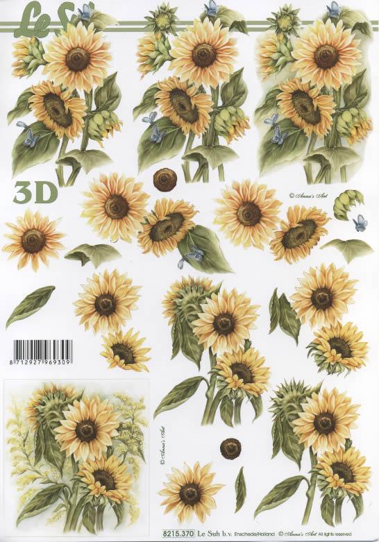 3D Bogen Sonnenblumen - Format A4,  Blumen - Sonnenblumen,  Le Suh,  3D Bogen,  Sonnenblume
