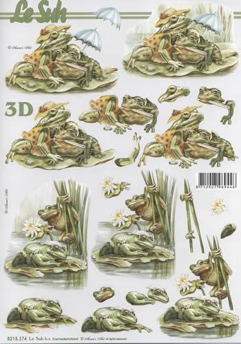3D Bogen  - Format A4, Blumen - Seerosen,  Tiere - Frösche,  Le Suh,  3D Bogen,  Frösche,  Seerosen