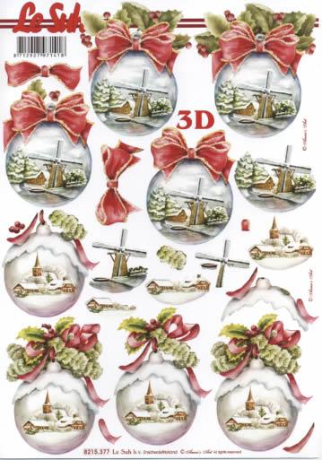 3D Bogen Weihnachtskugeln - Format A4,  Weihnachten - Baumschmuck,  Le Suh,  Weihnachten,  3D Bogen,  Baumkugeln,  Winterlandschaft