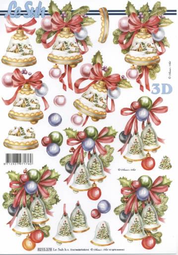 3D Bogen Weihnachtsglocken - Format A4, Weihnachten - Baumschmuck,  Weihnachten - Glocken,  Le Suh,  Weihnachten,  3D Bogen,  Glocken