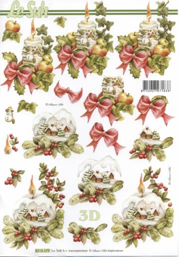 3D Bogen  - Format A4,  Weihnachten - Kerzen,  Le Suh,  Weihnachten,  3D Bogen,  Kerzen