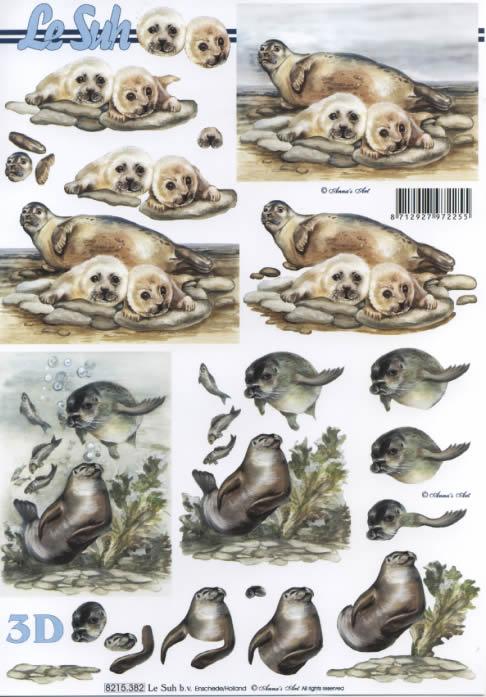 3D Bogen Seehund+Robbe - Format A4,  Tiere -  Sonstige,  Le Suh,  3D Bogen,  Seelöwe,  Robbe