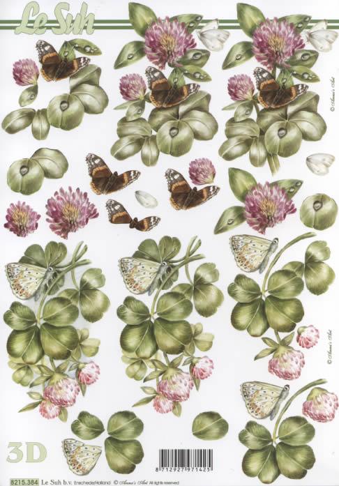 3D Bogen Schmetterling auf Klee - Format A4, Tiere - Schmetterlinge,  Pflanzen -  Sonstige,  Le Suh,  Sommer,  3D Bogen,  Klee,  Schmetterlinge