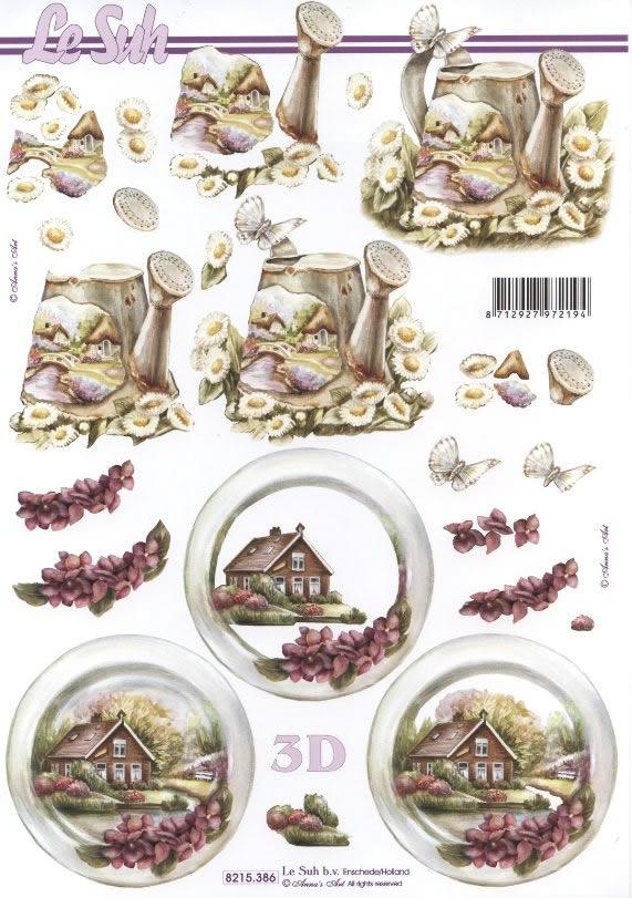 3D Bogen  - Format A4,  Sonstiges,  Le Suh,  Sommer,  3D Bogen,  Haus,  Gießkanne