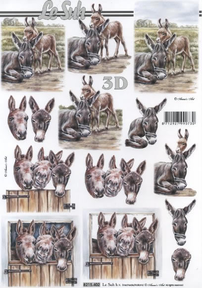 3D Bogen Esel - Format A4,  Tiere -  Sonstige,  Le Suh,  3D Bogen,  Esel