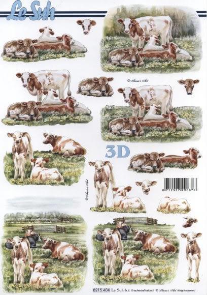 3D Bogen Kühe - Format A4,  Tiere - Kühe,  Le Suh,  Sommer,  3D Bogen,  Kühe