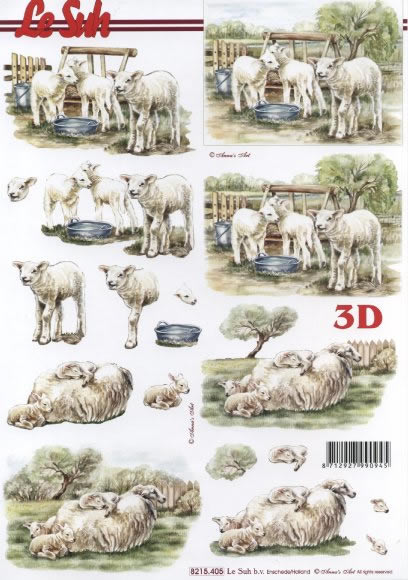 3D Bogen Schafe - Format A4,  Tiere - Schafe,  Le Suh,  Sommer,  3D Bogen,  Schafe
