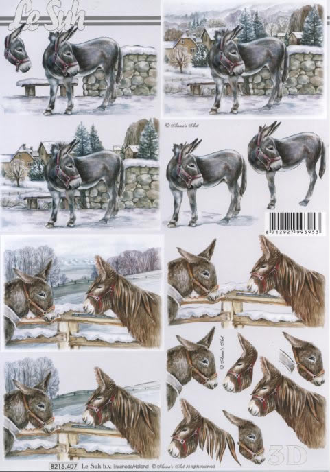 3D Bogen  - Format A4,  Tiere -  Sonstige,  Le Suh,  Winter,  3D Bogen,  Esel