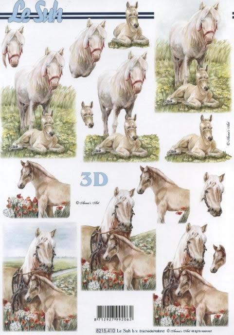 3D Bogen  - Format A4,  Tiere - Pferde,  Le Suh,  3D Bogen