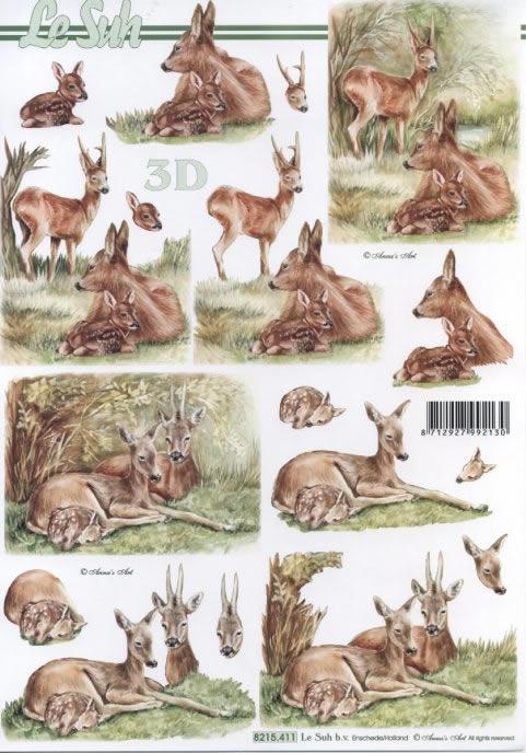 3D Bogen Rehe im Wald - Format A4,  Tiere - Reh / Hirsch,  Le Suh,  Herbst,  3D Bogen,  Reh