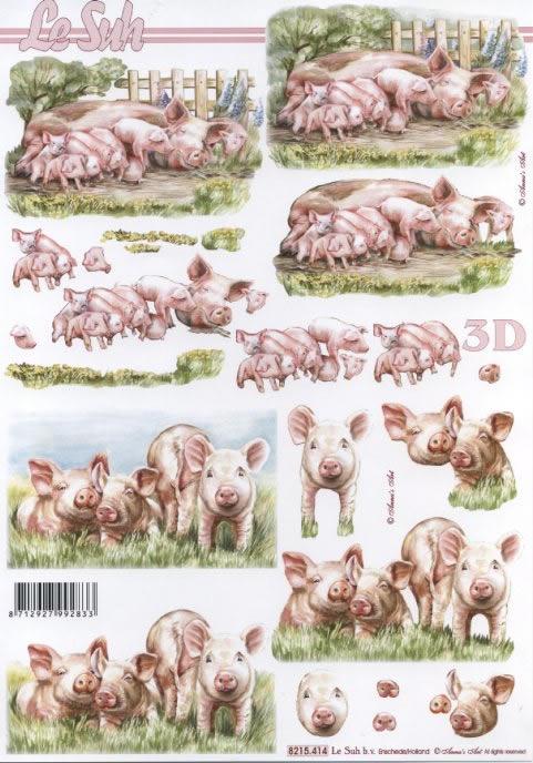 3D Bogen Schweine+Ferkel - Format A4,  Tiere -  Sonstige,  Le Suh,  Sommer,  3D Bogen,  Schwein