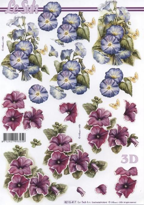 3D Bogen 2x Blumen rot/blau - Format A4,  Blumen -  Sonstige,  Le Suh,  Sommer,  3D Bogen,  Blumen