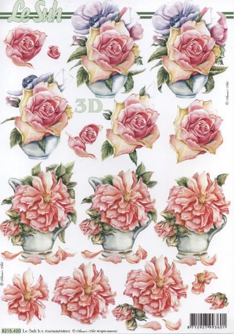3D Bogen Rosen Anemone - Format A4