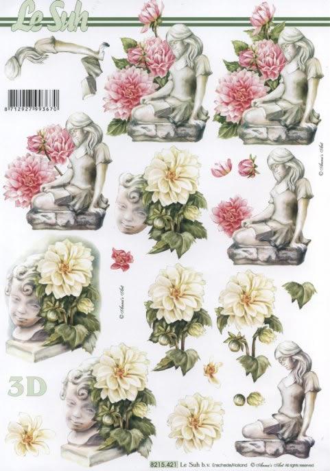 3D Bogen Statur mit Blumen - Format A4,  Menschen - Personen,  Le Suh,  3D Bogen