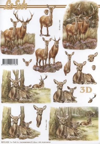 3D Bogen Hirsche im Wald - Format A4,  Tiere - Reh / Hirsch,  Le Suh,  3D Bogen,  Hirsch
