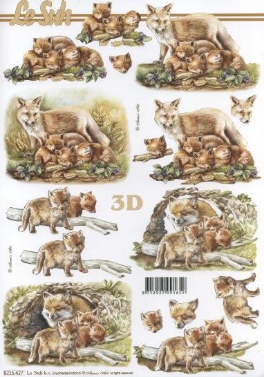 3D Bogen Fuchs mit Jungtieren - Format A4,  Tiere -  Sonstige,  Le Suh,  3D Bogen,  Fuchs