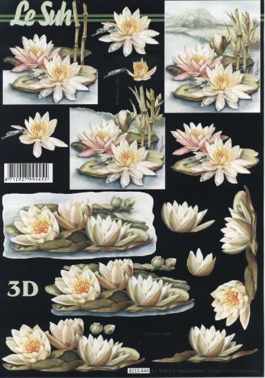 3D Bogen Seerosen - Format A4,  Blumen - Seerosen,  Le Suh,  Sommer,  3D Bogen,  Seerosen