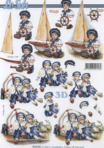 3D Bogen Puppe mit Schiff - Format A4,  Spielsachen - Puppen,  Le Suh,  3D Bogen