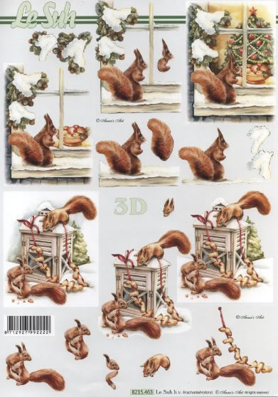 3D Bogen  - Format A4, Tiere - Eichhörnchen,  Winter - Schnee,  Le Suh,  Winter,  3D Bogen,  Schnee,  Eichhörnchen