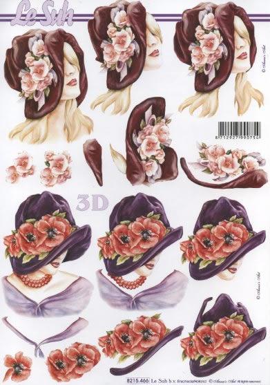 3D Bogen Damen mit Hut - Format A4,  Blumen,  3D Bogen