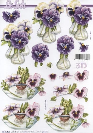 3D Bogen  - Format A4,  Blumen - Stiefmütterchen,  Le Suh,  Frühjahr,  3D Bogen,  Stiefmütterchen