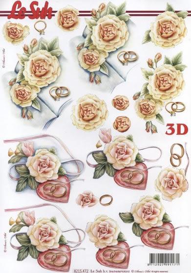 3D Bogen Trauringe mit Rosen - Format A4,  Blumen - Rosen,  3D Bogen