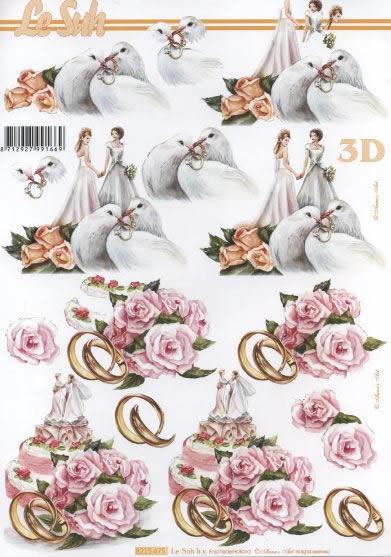 3D Bogen Heiraten - Format A4,  Ereignisse - Hochzeit,  3D Bogen,  Tauben,  Ringe