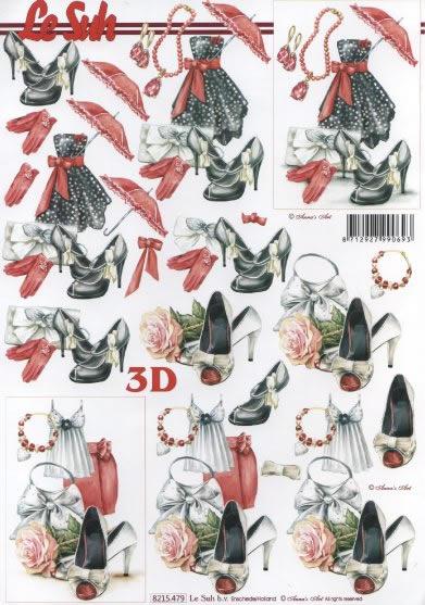 3D Bogen Frauwenblatt rot/schwarz - Format A4,  Ereignisse - Feier,  3D Bogen,  Kleidung,  Schuhe