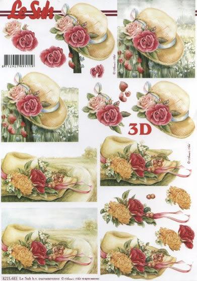 3D Bogen  - Format A4,  Blumen - Rosen,  3D Bogen,  Hüte