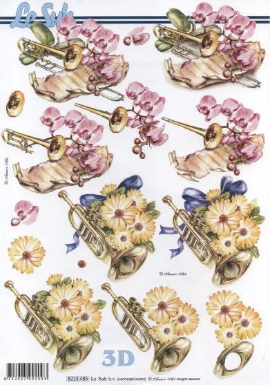 3D Bogen Instrument mit Blumen - Format A4, Blumen -  Sonstige,  Sonstiges - Musik,  Le Suh,  Sommer,  3D Bogen,  Noten,  Trompete,  Blumen,  Orchideen