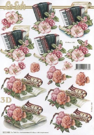 3D Bogen Harmonika und Saxophon - Format A4,  Blumen - Rosen,  3D Bogen