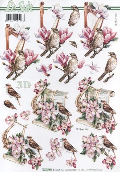 3D Bogen  - Format A4,  Le Suh,  3D Bogen,  Vögel,  Harfe
