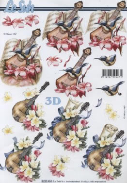 3D Bogen Instrument mit Blumen - Format A4, Blumen -  Sonstige,  Sonstiges - Musik,  Le Suh,  Sommer,  3D Bogen,  Blumen,  Vögel,  Instrumente