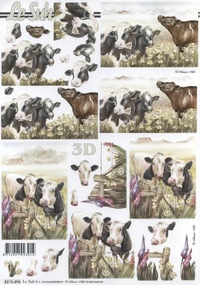 3D Bogen Kühe - Format A4,  Tiere - Kühe,  3D Bogen