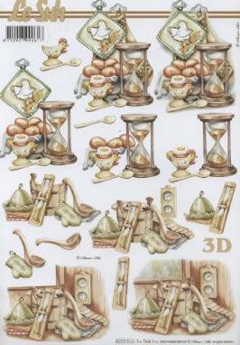 3D Bogen  - Format A4,  Tiere - Huhn / Hahn,  3D Bogen,  Eier