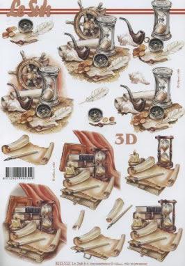 3D Bogen Sanduhr+Pfeife - Format A4,  Sonstiges -  Sonstiges,  Le Suh,  Sommer,  3D Bogen,  Sanduhr,  Pfeife,  Feder