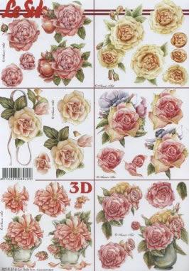 3D Bogen Rosen - Format A4,  Blumen - Rosen,  3D Bogen