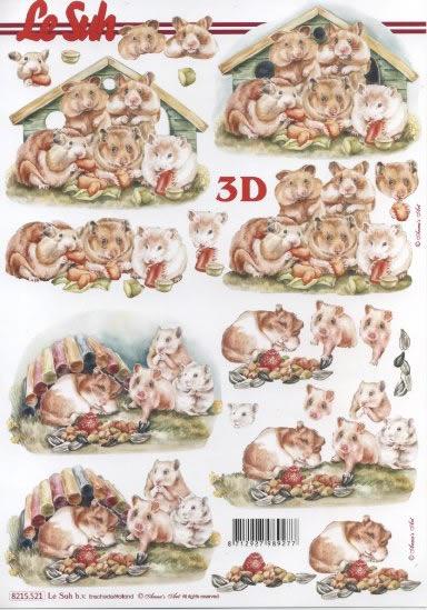 3D Bogen Hamster - Format A4,  Tiere -  Sonstige,  3D Bogen,  Meerschweinchen