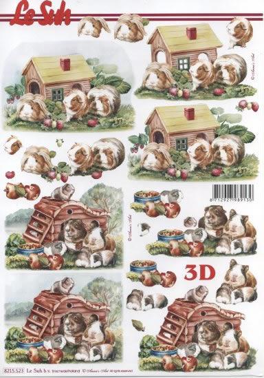 3D Bogen  - Format A4, Tiere -  Sonstige,  Früchte - Äpfel,  Le Suh,  Sommer,  3D Bogen,  Meerschweinchen,  Äpfel