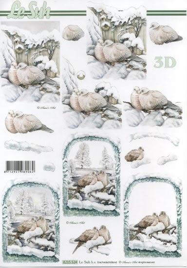 3D Bogen  - Format A4, Winter - Schnee,  Tiere - Vögel,  Le Suh,  Winter,  3D Bogen,  Schnee,  Tauben