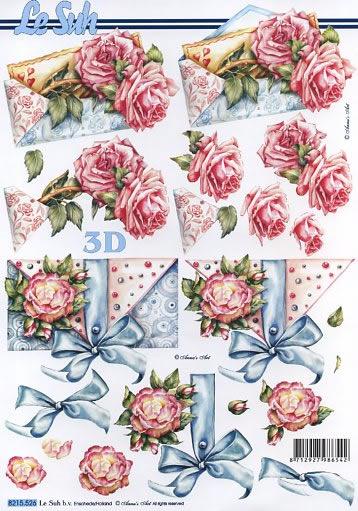 3D Bogen Umschläge mit Rosen - Format A4,  Le Suh,  3D Bogen,  Umschlag,  Schleife