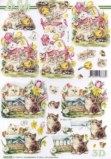 3D Bogen Blumen und Kätzchen - Format A4,  Le Suh,  3D Bogen,  Tulpen,  Köbchen,  Frühlingsblumen