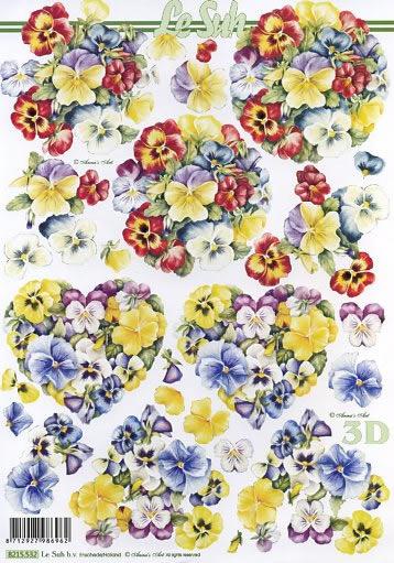 3D Bogen Veilchen rund+Herz - Format A4,  Blumen - Stiefmütterchen,  3D Bogen