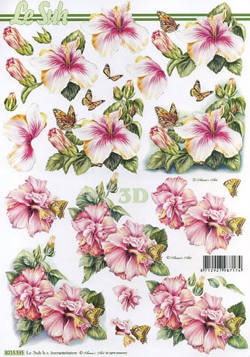 3D Bogen Blumen - Format A4,  Tiere - Schmetterlinge,  3D Bogen,  Hibiskus