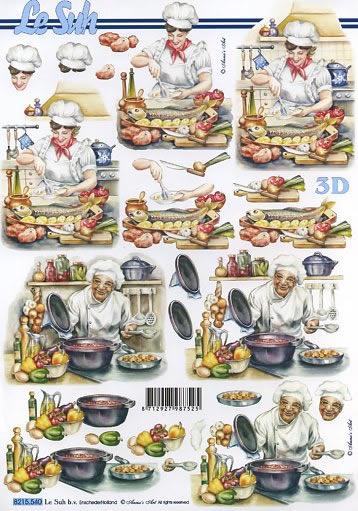 3D Bogen Koch und Kochin - Format A4,  Menschen - Personen,  3D Bogen,  Köchin,  Koch