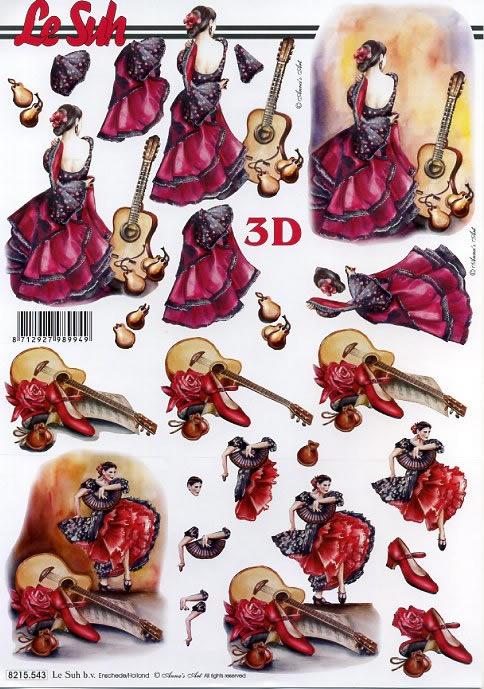 3D Bogen Spanische Tänze - Format A4,  Le Suh,  3D Bogen,  Gitarre,  Kastanietten