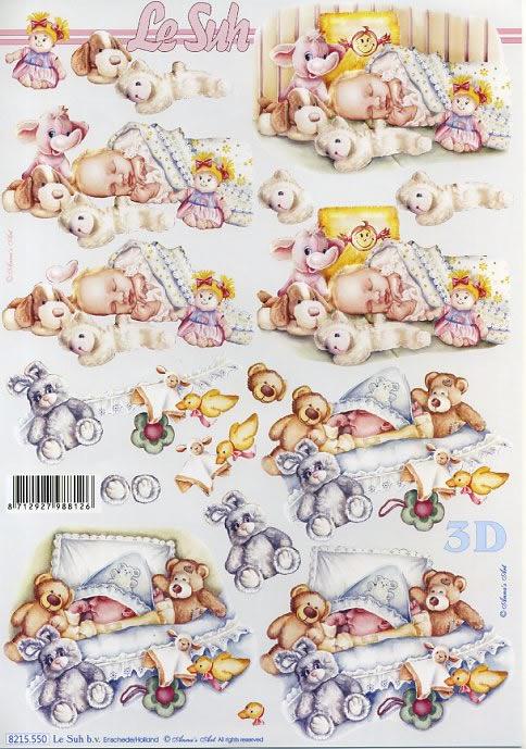 3D Bogen Baby schläft - Format A4,  Ereignisse - Geburt,  3D Bogen
