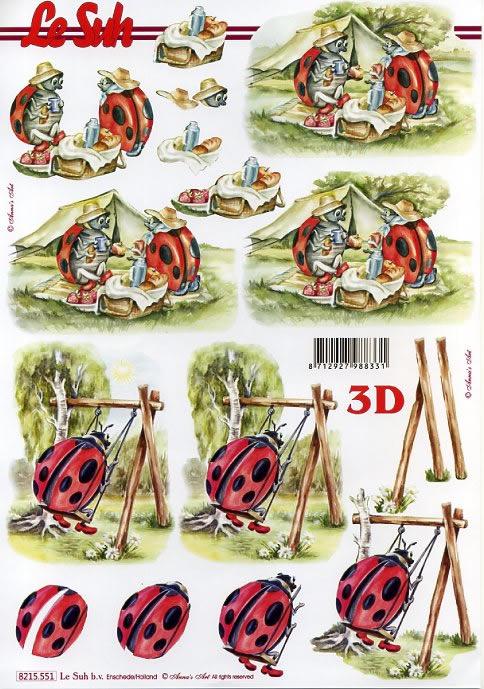 3D Bogen Marienkäfer - Format A4,  Tiere - Marienkäfer,  Le Suh,  Sommer,  3D Bogen,  Urlaub,  Camping,  Marienkäfer