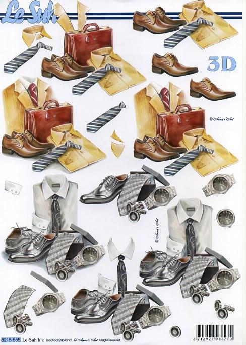 3D Bogen Männersachen - Format A4,  Menschen - Personen,  3D Bogen,  Krawatten,  Schuhe,  Hemden